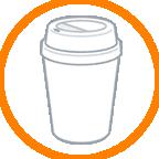 カップにコーヒー1